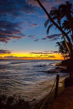Ka'anapali, Maui - Hawaii.  Sunsetting over the island