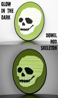 This unique skeleton Halloween decor is made using different sized dowel rods - AND it glows! So spooky!