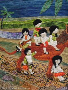 close up, O Burrito Mia by Margot McDonnell.  2014 AZQG, 2nd place award. Embroidered. Photo  by Quilt Inspiration.