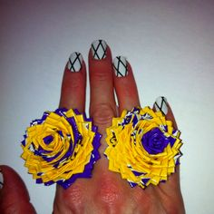 LSU duct tape rings and Trinity design haute nails, find it at www.hautenailsand...