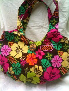 Handmade Medium Hobo Bag in Hawaiian Floral Fabric by anniscrafts, $33.00