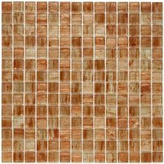 Merola Tile Coppa Tan 12 in. x 12 in. Copper and Gold Glass Mesh-Mounted Mosaic Tile
