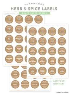 Kraft Printable Spice Labels in free editable templates