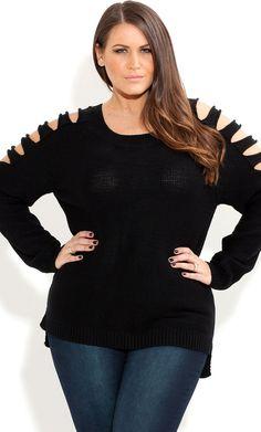 City Chic - LOOP SHOULDER JUMPER - Women's plus size fashion