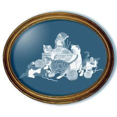 Yarn Party Kittens Cat Oval Mirror