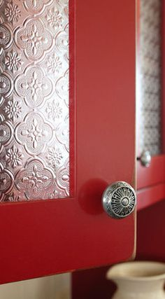 Kitchen Cabinets Red with tin