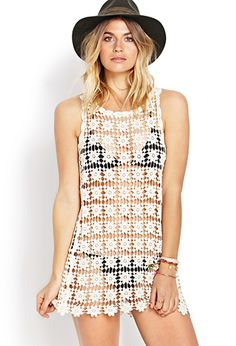 FOREVER 21 BREEZY CROCHET COVER-UP-perfect beach cover up