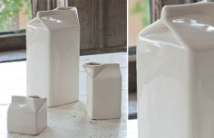 Our Ceramic Milk Cartons are Antique Milk Jugs that are perfect for serving up milk, juice, or coffee creamer! for more Porcelain Pitchers visit, www.decorsteals.com OR www.facebook.com/DecorSteals #CeramicMilkCartons #AntiqueMilkJugs #PorcelainPitchers