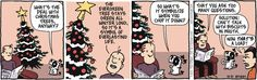 Creative solutions this holiday season. Pooch Cafe on GoComics.com #Holidays #Humor #Dogs #Christmas