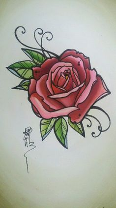 Original rose tattoo art by resonanteyes