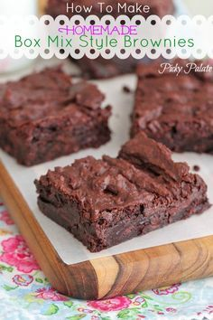 How To Make Homemade Box Mix Style Brownies by Picky Palate www.picky-palate.com #brownies #chocolate