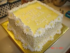 Square Mother's Day Cake Bake Adventur, Squar Mother, Squares, Mothers Day Cake Ideas, Daisi, Birthday Cake, Mother Day Cakes, Bakeri Idea, Dessert