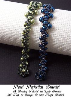 Beading Tutorial Embellished Triangle Weave Pearl Perfection Bracelet Tutorial INSTANT DOWNLOAD via Etsy