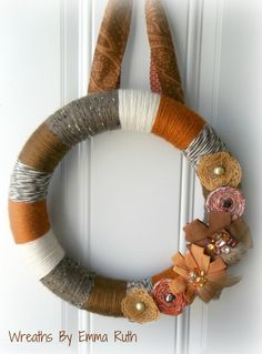 Rustic Fall Yarn Wreath with rolled fabric by WreathsByEmmaRuth