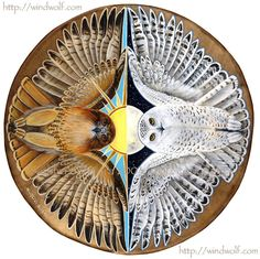 .A little something to show, The Hawk is Mommy's totem, the Snow Owl and sun is Willson's guide and I am the moon child :)