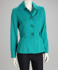 Artifacts Teal Triple Button Wool-Blend Jacket