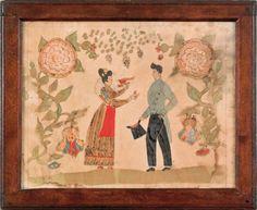 Watercolor fraktur of a betrothal