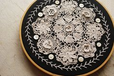 Vintage Crochet Lace Doily Embroidery Hoop Wall Art Collage.