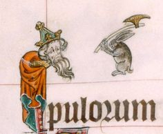 Bunny with Axe: from Gorleston Psalter, England 14th century (British Library, Add 49622, fol. 13v)