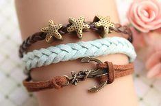 Love. starfish, anchor, leather bracelets