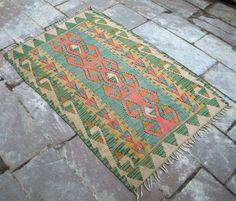 """Anatolia Turkish Rug 43"""" x 61"""" Vintage Hand Woven Wool Kayseri Kelim Kilim ®"""