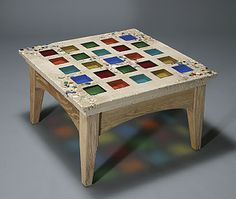 Jessie Coffee Table: Terence S. Dubreuil: Concrete, Art Glass & Wood Coffee Table | Artful Home