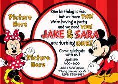Mickey & Minnie Mouse Birthday Invitation.