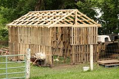 Wood pallet goat barn