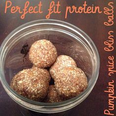 Pumpkin Spice Bliss Balls by brittanys_fit_life. 6 dates (pitted); 1 cup of almonds; 1 scoop vanilla Perfect Fit Protein; 1/4 tsp of each: cinnamon, nutmeg, and ginger; 2 tbsp cacao powder; 1 tbsp chia seeds; and 2 tablespoons of almond milk.