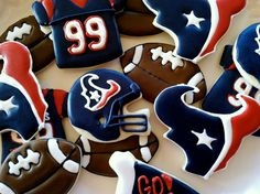 Houston Texans Football Cookies.  Love these!!!