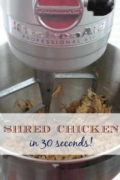 Shred Meat in 30 seconds or less! Even with the cleanup of your mixer, this is soooo much easier than using a knife/fork or any other way!!!
