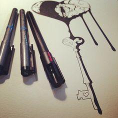 Bleeding Heart & Key - Ink - pen & ink, broken heart, skeleton key, keyhole, tattoo, flash art, drawing, line art, drip, tears