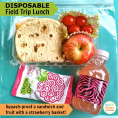 Need a disposable field trip lunch? Squash-proof it with a berry basket!