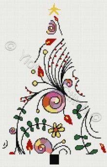 Modern Christmas tree cross stitch kit or pattern | Yiotas XStitch