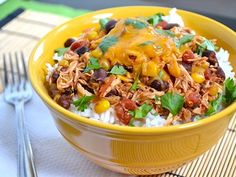 crock pot chicken burrito bowls, Amazing Mexican chicken and cheap to make!! I LOVE it for tacos!!