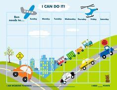 PRINTABLE Personalized Child Reward Chart / Chore Chart - Transportation - Jpeg PDF. $5.99, via Etsy.