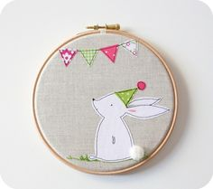 Bunny wall art hoop. so cute!