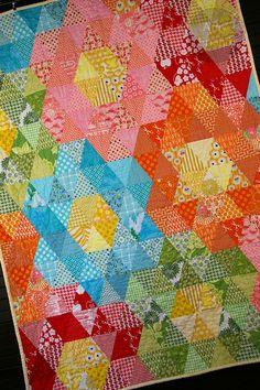 Mega Grandmother's Garden Quilt Tutorial {love the colors}