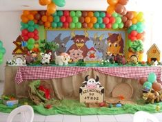Farm kids party decoration