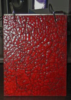 Faux leather decorating effect using eggshells.
