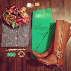 colored jeans, boots, floral scarf and chambray.