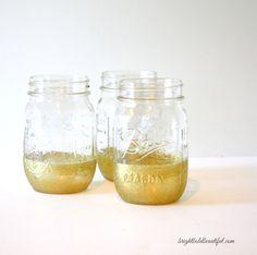 DIY Gold Dipped Mason Jars