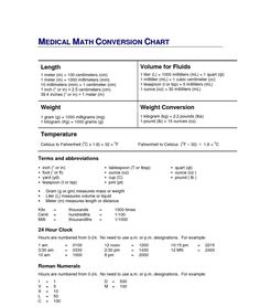 ... Dosage Calculation Conversion Chart Also Printable Cheerleading Games