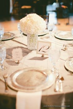 Rent Crystal Beaded Vases and fill with simple White Hydrangea