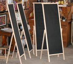 chalk board for craft fairs. Could turn these  into cork, mirror or magnetic boards.
