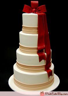 Red Ribbon Wedding Cake by Pink Cake Box