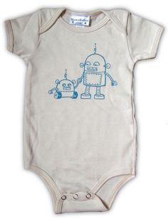 Robot Onesie by MamaRobot: Made of 100% organic cotton. #Robot #Onesie #Babies #Mama_Robot