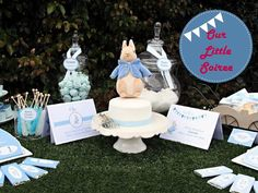 Peter Rabbit 1st Birthday Party rabbit parti, birthday parties, boy cakes, dessert tabl, 1st birthdays, parti idea, rabbit 1st, peter rabbit party, baby showers