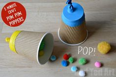 Super fun 5 Minute Craft - make some (safe) Party Poppers with the Kids. We made them from upcycled coffee cups. It took no time at all and the kids spent hours playing with them. Great for 4th July too! parti popper, pom pom crafts for kids, upcycled crafts for kids, july 4 crafts for kids, minut craft, party craft ideas, craft party, kid parties, crafts for parties