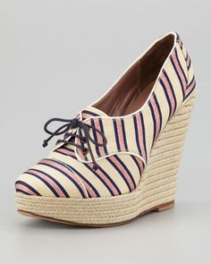 Tabitha Simmons Tie Striped Oxford Wedge, Pink/Navy - Neiman Marcus. Spring Shoes